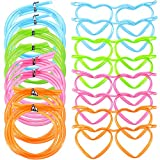 8 Pieces Drinking Straw Eyeglasses Plastic Silly Straw Eyeglasses DIY Drinking Straw Glasses in Cute Heart Crazy Fun Loop Straws Eyeglasses for Annual Meeting Parties Birthday (4 Colors)