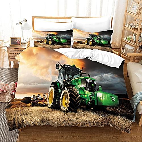 Funda de edredón Grande Funda de edredón de poliéster para Tractor Funda de Almohada Ropa de Cama Cama Individual y Doble 67 × 85 Pulgadas (3 Piezas Diseño 1