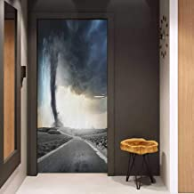 Toilet Door Sticker Nature Black Tornado Funnel Gas and Thunder Rolling on The Road Fume Disaster Monochrome Print Glass Film for Home Office W23.6 x H78.7 Grey