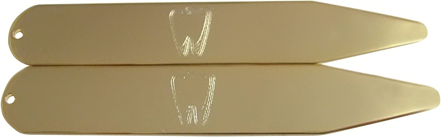 Kiola Designs Gold Toned Etched Dentist Tooth Collar Stays