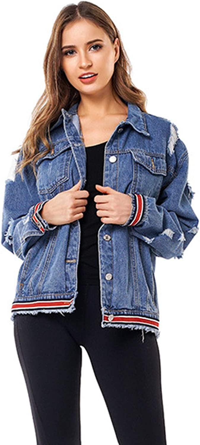 Denim Jacket Women's Lapel Fashion BF Style Loose and Comfortable Casual All-Match Short Webbing Decorated Jacket (Size : Small)