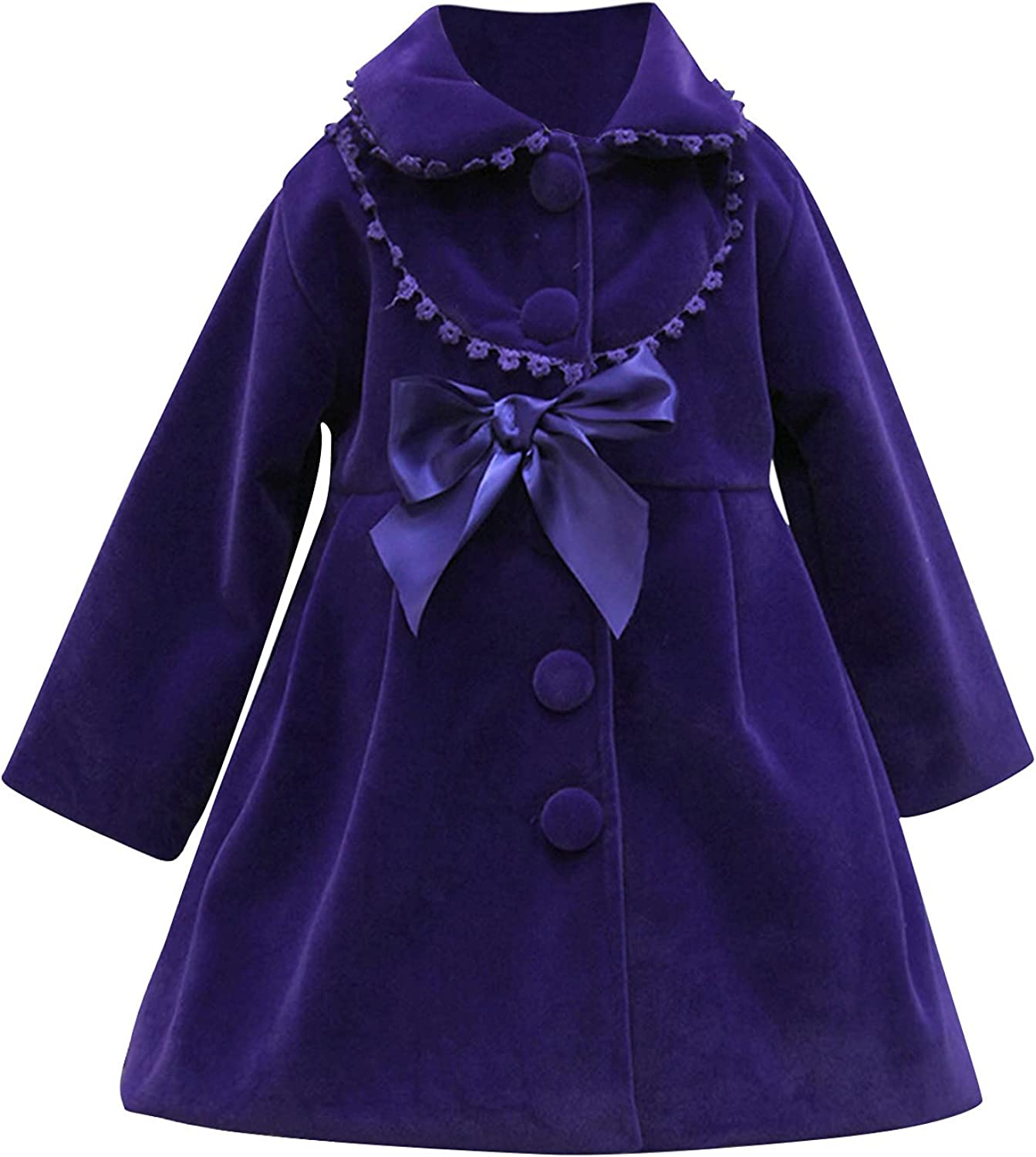 Baby Girls Factory outlet Fall Winter Windproof Branded goods Ruffle Solid Button Bow Woolen