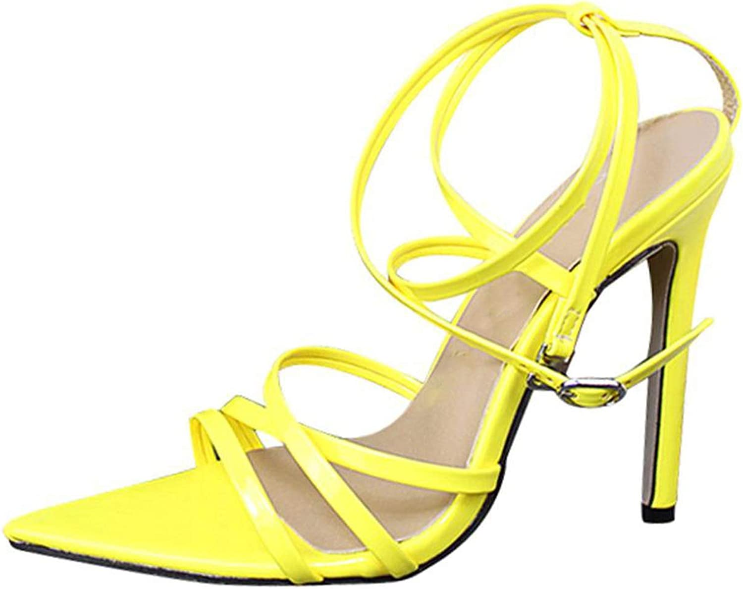 Meet at Summer-heeled samndals Solid color fine with Pointed Fish Mouth Stiletto Comfortable high Heel Sandals,Yellow,7.5,