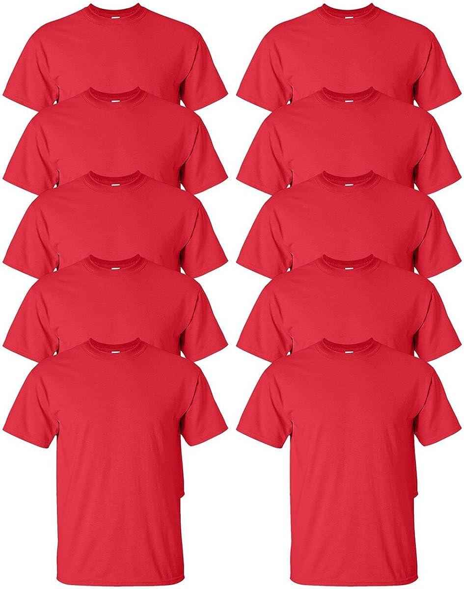 Gildan mens Max 69% OFF Ultra Cotton Popular overseas 6 oz. -RED-2XL-10PK T-Shirt G200