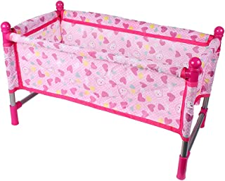 Tongina Bear Heart Pattern Baby Doll Crib Bed for Milchan Reborn Dolls Accessory