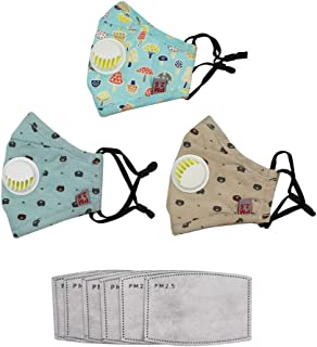 Kids Anti Pollution Mask (3 Masks+6pcs Filters)with Activated Carbon N95 Filters Respirator Dust Mask, PM2.5 Guaze Mouth Mask, Protects from Dust Allergy Pollen Dander Germs Cold Flu Mold Allergens