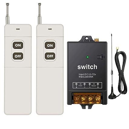 dstfuy Wireless Remote Relay RF Remote Control Switch - DC remote switch--40A relay