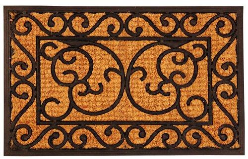 Esschert Design Schmutzfangmatte, Fußmatte aus Gummi mit Kokoseinlage, rechteckig, ca. 60 cm x 40 cm