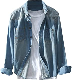 Denim Solid Color Casual Men'S Shirt Loose Large Size Long Sleeve Button Jacket New Autumn Winter Pockets Tops Blouse