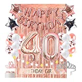 40th Birthday Decoration for Women by OUGOLD , 40th Bday Decorations, Rose Gold Party Supplies, 40 tiara and sash rose gold Party Decorations for 40 Forty Years Old Birthday Party