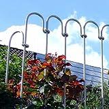 Steckzaun aus verzinktem Stahl, 1m Gartenzaun, Teichzaun aus einzelnen Stahlstäben, ROSTFREI, einfacher Aufbau, Schutzzaun, Metallzaun, Zaun