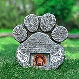 Re-Call Grabstein Hund Pfotenform Gravierter Engelsflügel Hund Gedenkstein mit wasserdichter Fototasche für Rasen und Garten