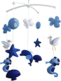 Seahorse Seagull Shell Baby Crib Mobile Nursery Decor Baby Mobile for Boys and Girls, Blue Ocean