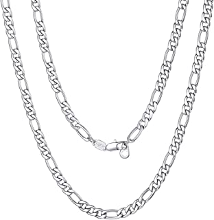 "ChainsPro Mens NK 3:1 Figaro Chain Necklace-4/6/9/13MM Width, 18K Gold Plated/316L Stainless Steel/Black, 18-30"" (Send Gif..."