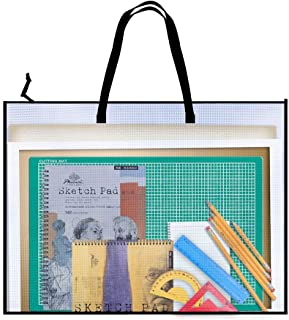 Art Portfolio Bag, Opret 19 x 25 inch Vinyl Storage Bag with Zipper and Handle Posters Organizer Transparent White Bag for Bulletin Boards, Artworks, Charts and Teaching Material