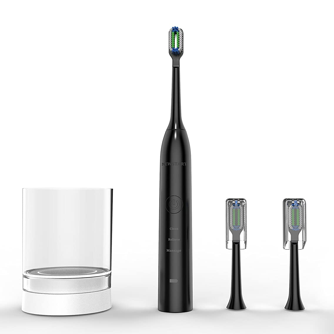 Sonic Electric Toothbrush, Power Rechargeable Toothbrush with 4 Brushing Modes, with 5 Replacement Heads (Black)