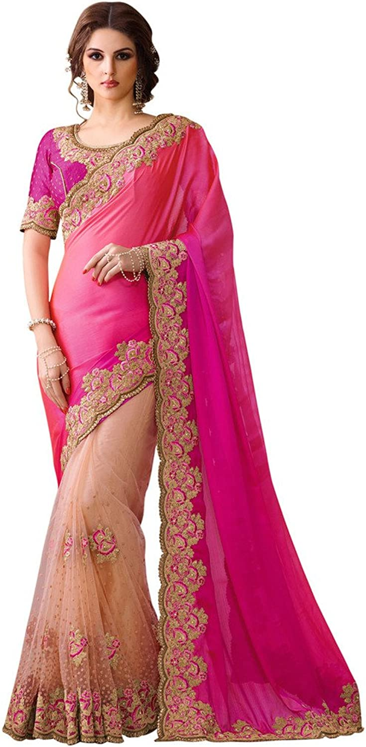 EthnicWear Indian Womens Stylish Pink Peach Designer Dress Saree