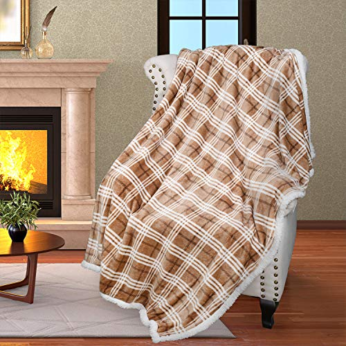 """Plaid Sherpa Throw Blanket, Plush Flannel Throws for Couch and Bed, Super Soft Reversible TV Blanket, Comfort Caring Gift 50"""" x 60"""", Buffalo Latte"""