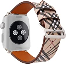 Coholl 38/40mm Tartan Plaid Style Replacement Strap Wrist Band with Metal Adapter Compatible for Apple Watch Series 4 3 2 1 Soft PU Leather Pastoral/Rural Style 42/44mm (E, 42/44mm)