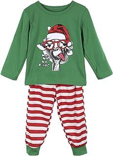 Greetuny Family Christmas Pajamas Set Christmas Long Sleeve Shirt Stripe Pants for Mama Papa Kids Holiday Homewear Winter