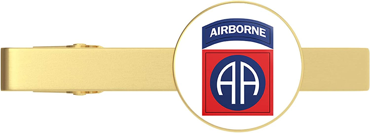 HOF Trading Gold US Army 82nd Airborne Division Patch Gold Tie Clip Tie Bar Veteran Gift