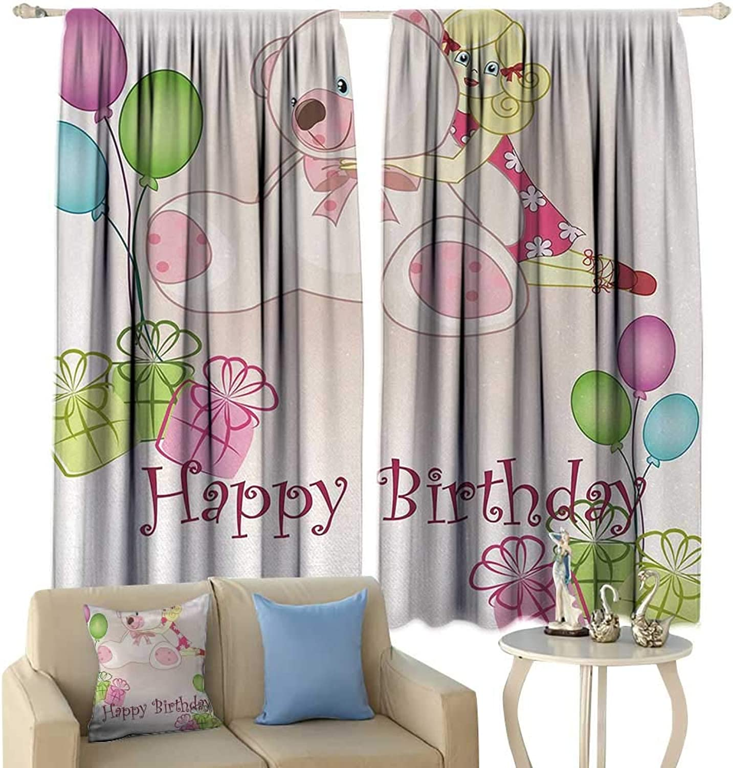 HoBeauty Kids Birthday, Thermal Insulating Blackout Curtain, Baby Girl Birthday with Teddy Bears Toys Balloons Surprise Boxes Dolls Image, Blackout Draperies for Bedroom,(W55 x L63 Inch, Light Pink