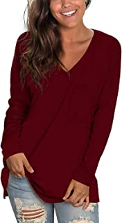 SAMPEEL Women's Fall Long Sleeve Shirts V Neck Tunic Tops Loose Fit Casual Basic Tee with Pocket