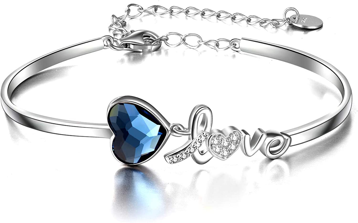 AOBOCO I Love You New Orleans Mall Jewelry Sterling Silver Brac Heart Popular products Bangle