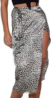 KLJR Leopardo de Las Mujeres impresión de Cintura Alta Casual Lado sin litaño Partido Faldas largas