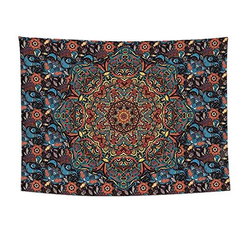 KHKJ Tapiz Indio Boho Mandala para Colgar en la Pared, Manta de Alfombra para Playa, Tienda de campaña, colchón de Viaje, Almohadilla para Dormir, tapices A1 95x73cm