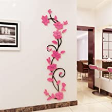 bismarckbeer PVC 3D Romantic Rose Flower Removable Wall Stickers (Pink)