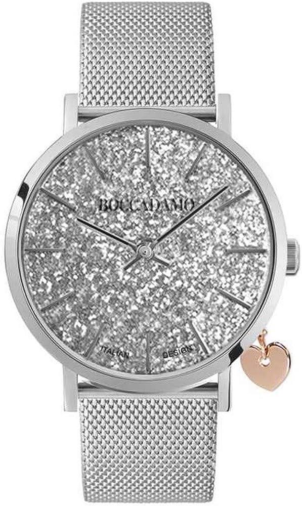 Boccadamo,orologio per donna,cinturino in acciaio,cassa È in metallo,charm laterale rosato a forma di cuore My015B