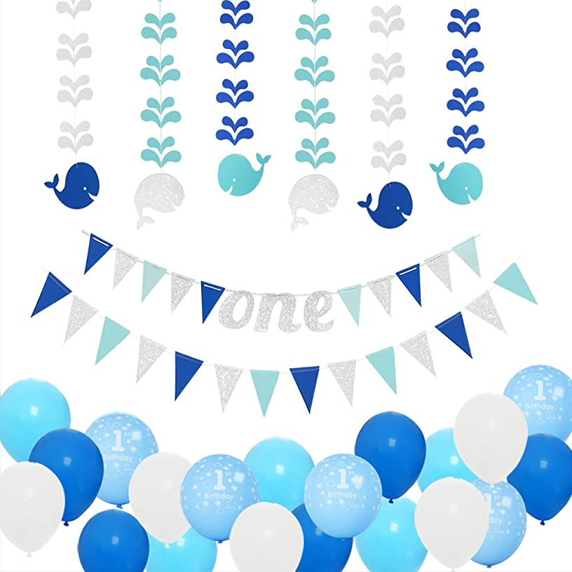1st Birthday Boy Decorations Kit-Baby First Birthday Party Decorations-Blue/Silver one Birthday Banner,Glitter Hanging Whales-Number One Balloon–Blue,Light Blue and White Balloons by PinkBlume.