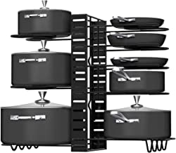 Pot Rack Organizers, G-TING 8 Tiers Pots and Pans Organizer, Adjustable Pot Lid Holders & Pan Rack for Kitchen Counter and...