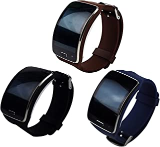 TenCloud 3-Pack Straps Compatible with Galaxy Gear S Sm-R750 Smartwatch Replacement Silicone Sport Bands Black+Brown+Navyblue