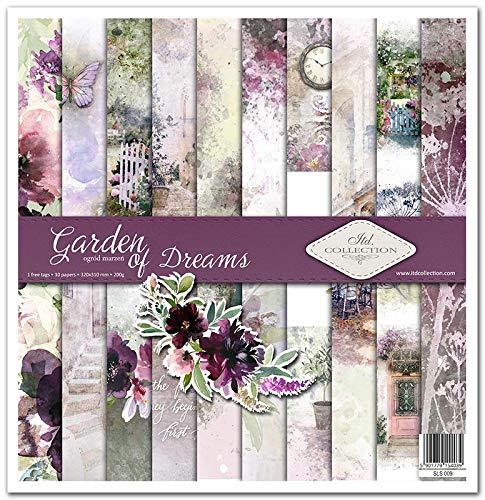 ITD Collection - Paquete de álbumes de recortes, 30 x 30 cm, papel de scrapbooking, papel de decoración, papel para hacer tarjetas, tamaño 310 x 320 mm, Garden of Dreams