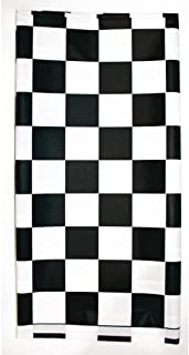 Creative Converting Stay Put Banquet Table Cover Checkered Elastic Corners Plastic Tablecover, one size, Black Check