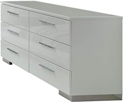 Benjara , White and Silver Wooden Dresser with Six Drawers and Bar Pull Handles