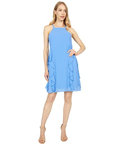 Vince Camuto Chiffon Halter Float Dress with Ruffle Seam Detail