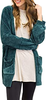 Women's Long Sleeve Open Front Knit Sweater Soft Velvet Chenille Cardigans with Pockets