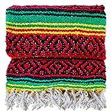 The Baja Trader Handmade Woven Throw Blanket, Rasta Blanket, Hippie Blanket, Authentic Mexican Blanket, Falsa Blanket, Serape, Native American Blanket, Western Blanket, Outdoor Blanket