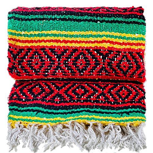 The Baja Trader Handgefertigte gewebte Überwurfdecke, Rasta-Decke, Hippie-Decke, authentische mexikanische Decke, Falsa-Decke, Serape, Indianerdecke, Westerndecke, Outdoordecke