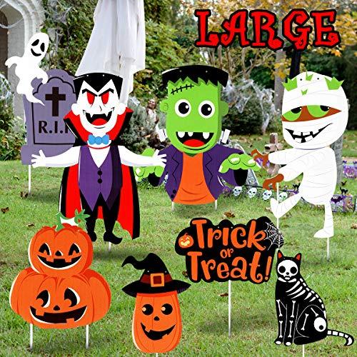 Garneck Halloween-Dekorationen für den Außenbereich, Gartenschilder, groß, freundlich gewellt, Gartenstecker, Schild für Halloween, Höfe, Rasendekorationen, Halloween-Party-Zubehör, 8 Stück