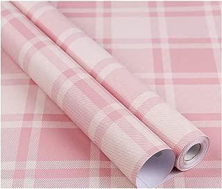 Plaid Pattern Vinyl Contact Paper Self Adhesive Shelf Drawer Liner for Kitchen Cabinets Backsplash Countetop (Pink, 24
