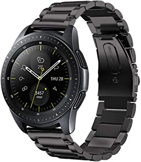 VICARA Compatible Samsung Galaxy Watch(42mm)/Galaxy Watch Active(40mm)Band, Solid Stainless Steel Metal 20mm Business Replacement Bracelet Strap with double button butterfly clasp Compatible Samsung Galaxy Watch 42mm SM-R810/SM-R815 Smart Watch (Black)