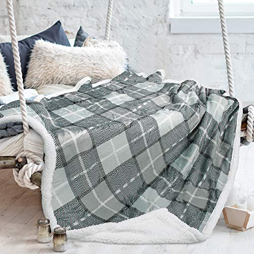 """Tirrinia Sherpa Blankets and Throws, Super Soft Warm Comfy, Checkered Blanket Winter Cabin Throw, Holiday Theme Blanket, 50"""" x 60"""" Grey Plaid"""