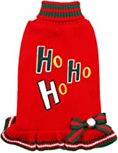 kyeese Christmas Dogs Sweaters Turtleneck Red Dogs Sweater Dress with Bowtie Knit Pullover Warm Pet Sweater for Holiday with Leash Hole