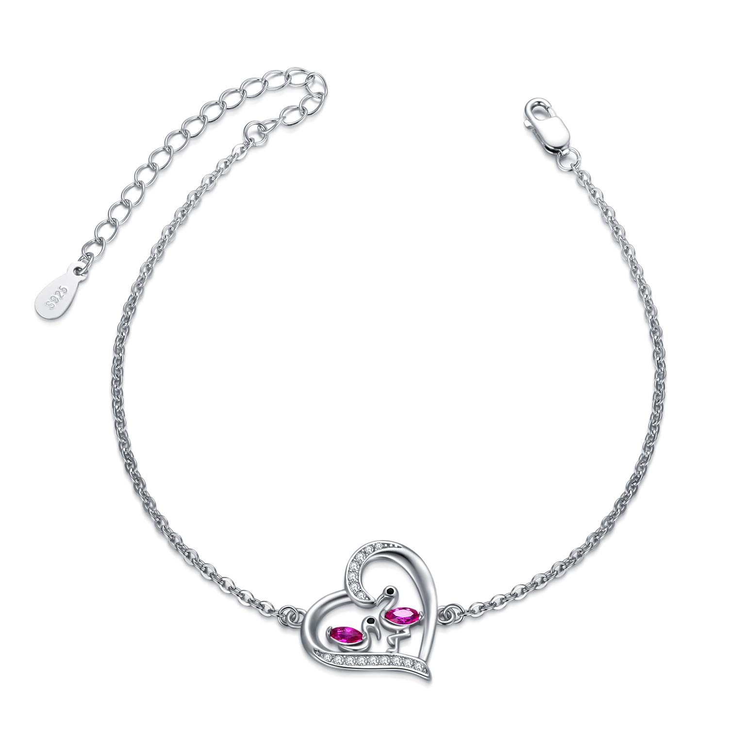 New Triple Silver Chain Bracelet with Flamingo and Heart Charm Detail