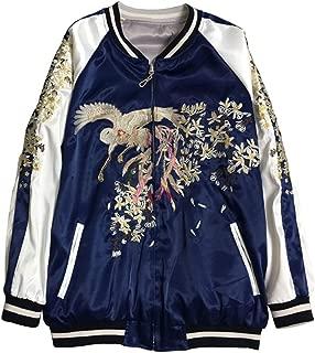 Floral Phoenix Embroidery Bomber Jacket Women Harajuku Pilot Jacket Casual Basic Jackets,Blue,M