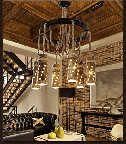 Lámpara colgante rústica con cuerda de cáñamo retro, LED, diseño industrial, vintage,...